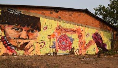 Mural en la vereda La Cooperativa, resultado del acto de reconciliación. Foto: Jennifer Moreno