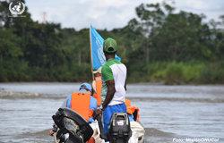 Momentos del desplazamiento de los Observadores de la Misión de la ONU en Colombia, en proceso de extracción de las armas de las FARC desde el PTN de Vidrí en Antioquia.